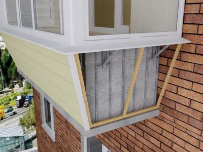 обшивка балкона с выносом сайдингом