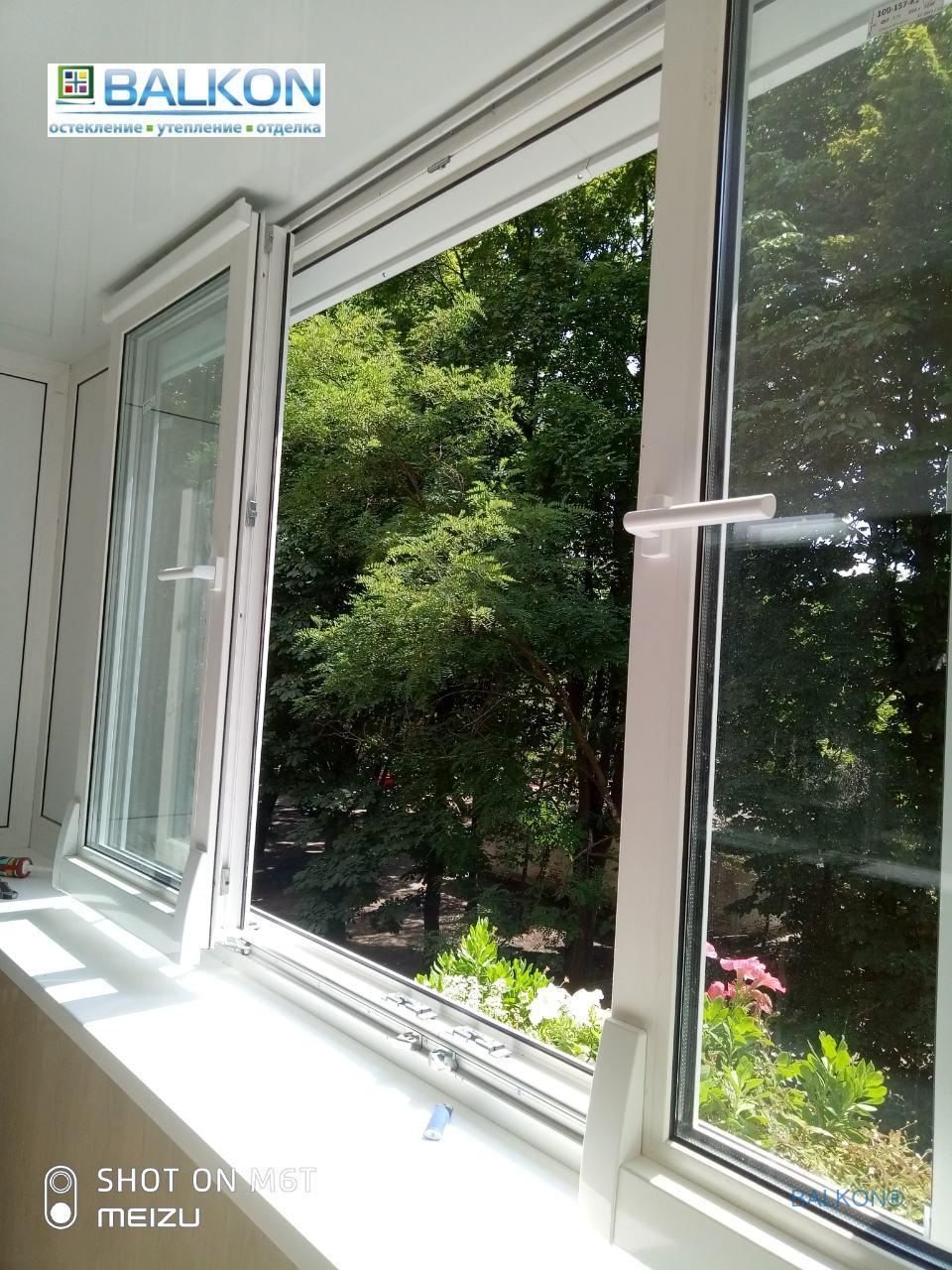 Раздвижные окна на балкон Киев на ул.Ольжича 13 - фото бригада 13