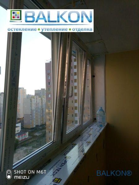 Остекление лоджии с выносом Киев на ул. Закревского 97А - фото © Застеклить Балкон