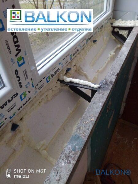 Балкон с выносом по подоконнику с утеплением пенопластом фото работы 19 бригады